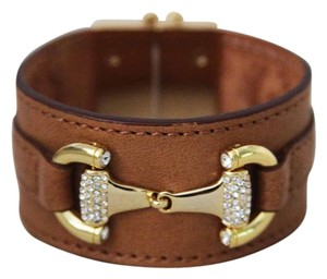 My Flat in London Brown Leather and Gold Horsebit Bracelet