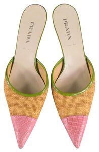 Prada Straw Embossed Pink Leather Multi Mules
