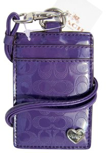 Coach Coach Perforated Signature C Embossed Liquid Gloss Violet 62406 Lanyard Badge ID Card Holder, NWT $48