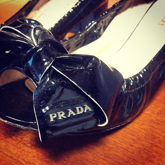 Prada Sport Bow Peep-toe Black Pumps