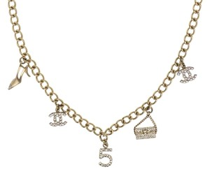 Chanel Chanel Brushed Choker Charm Logo Necklace