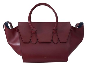 Céline Tie Mini Tie Mini Tie Burgundy Tote in Red palmelato leather Celine