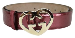 Gucci Patent Leather Belt Heart Shaped Gg Buckle 100/40 Pink 245856 6414