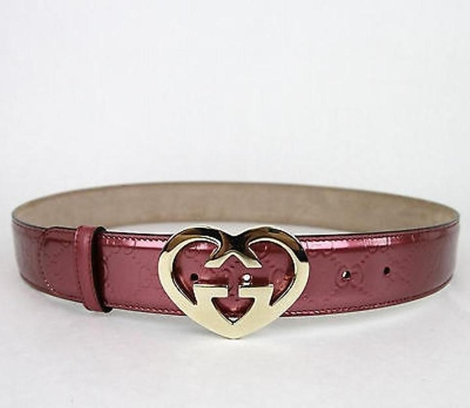 95e50ec52e0 Gucci Pink Patent Leather Heart Shaped Gg Buckle 110 44 245856 6414 .