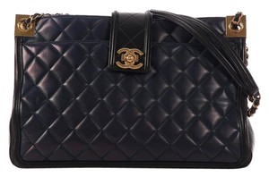 Chanel Quilted Ch.k0428.01 Lambskin Leather Two Tote