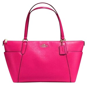 Coach Gold Chain Monogram Logo Tote in Pink Ruby
