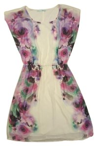 Maurices short dress Ivory, purple, pink, floral on Tradesy