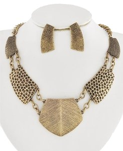 Viola Burnished Gold Tone Necklace and Earrings