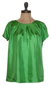 Banana Republic Twill Pleated Silk Top GREEN
