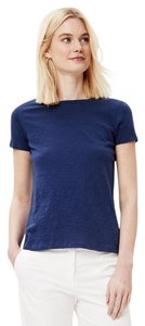 Theory Cotton Blue Crewneck Slub T Shirt indigo blue