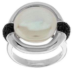 Honora Honora Cultured Pearl 13.0mm Coin and Black Spinel Sterling Silver Ring - Size 10