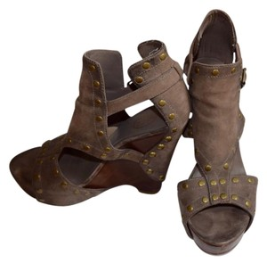 Ash Buckled Wood Wedge Brown Wedges