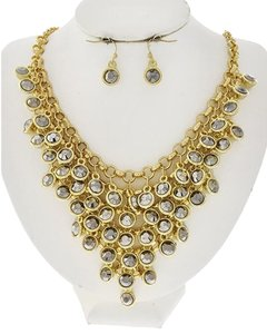 ELLA EURO Gold Tone Hematite Acrylic Necklace and Earrings