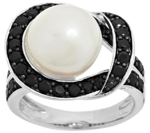 Honora Honora White Cultured Pearl 11.0mm and Black Spinel Sterling Silver Ring - Size 8