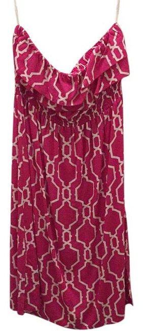 Item - Bright Pink and White Strapless Lani Knee Length Short Casual Dress Size 12 (L)