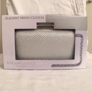 Jessica McClintock Evening Mesh New Nwt Shoulder Silver Platinum Clutch