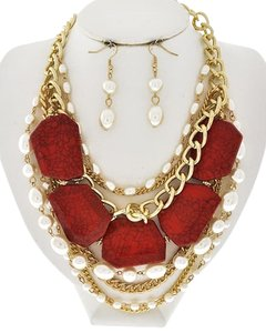 EsMor Gold Tone Coral Acrylic & Cream Synthetic Pearl Necklace and Earrings