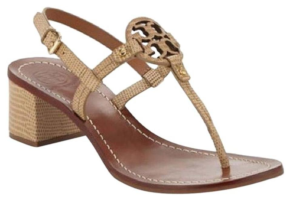2d9808225207f6 Tory Burch Trench Tan In Box Mini Miller 45mm Heel Micro Tejus Print Lizard  Embossed Leather Sandals