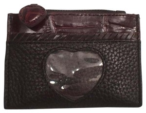 Brighton Leather W/Embossed Croc/Gator Mini ID Wallet