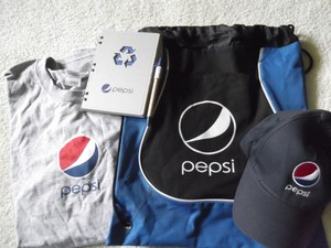 Other Pepsi Hat, Shirt, Cinch Bag, and Notebook