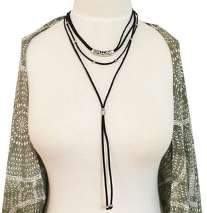 Other Suede Tie Layered Bohemian Hipster Choker Necklace