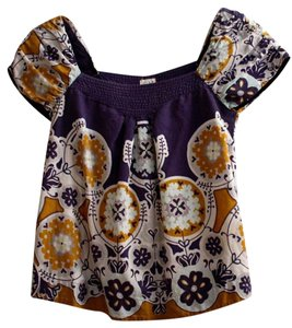 Anthropologie Peasant Top Blue Violet and Gold