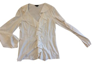 Theory Silk Blouse Theyskens Button Down Shirt Creme