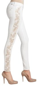 DL1961 White Runway Embellished Embroidered Perfect Skinny Jeans