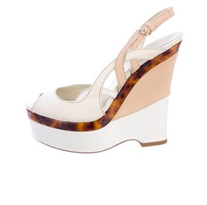 Gucci Leather Platform Wedge white Sandals