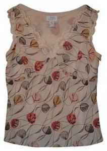 Ann Taylor LOFT Floral Abstract Blouse Top Cream Pink Brown Lace