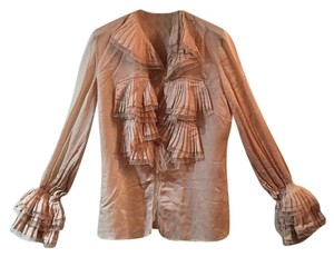 Ruffled, peasant blouse with tie at waist. Top Blush