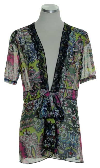 Item - Multi-color Tie-front Sheer Short Sleeve Floral Tunic Cardigan Size 8 (M)