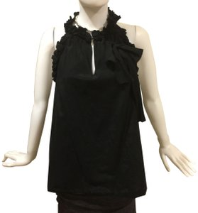 The Impeccable Pig Halter Ruffle Ruffle Silk Top Black