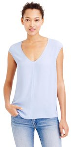J.Crew Hi-lo V-neck Woven Top Blue