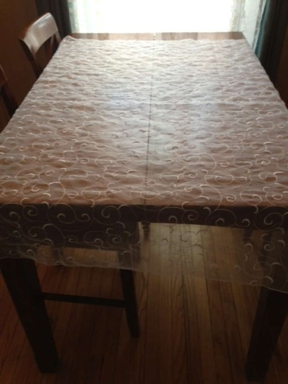 White On White Organza Swirl Overlays Tablecloth
