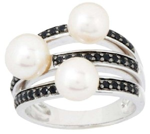 Honora Honora Cultured Pearl and 0.30ct Black Spinel Sterling Silver Ring - Size 7