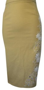 Debbie Shuchat Skirt Beige with white embroidery