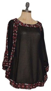 Anthropologie Sheer Embroidered Hippie Top BLACK
