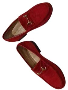 Gucci Red Suede Loafers Flats