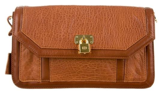 Tory Burch Leather Wristlet Brown Clutch