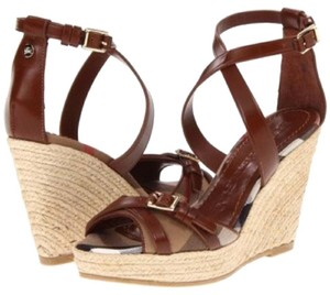 Burberry Lether Espadrille Brown Wedges