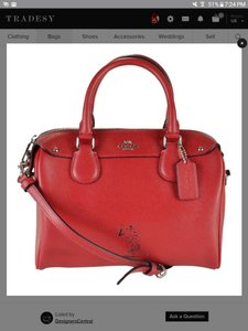 Coach Leather Monogram Satchel in red snoopy