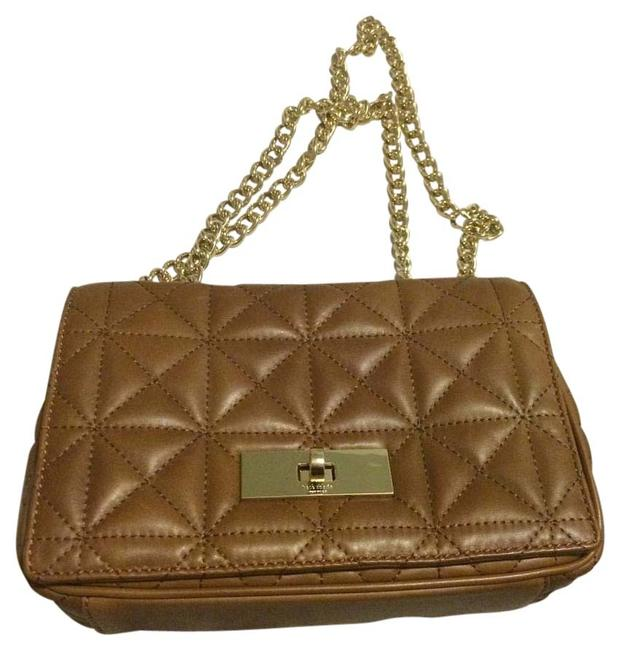 Item - Chain Quilted Convertible Brown and Gold Leather Shoulder Bag