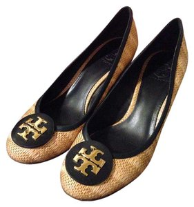 Tory Burch Sally Straw Navy Natural/Navy Wedges