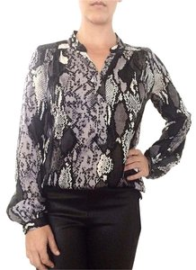 MILLY Snakeskin Silk Top Black/White/Gray