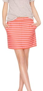 J.Crew Mini Pockets Stripes Preppy Mini Skirt Pink and Orange