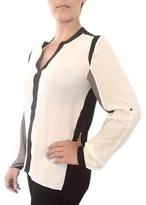 Elie Tahari Color-blocking Top Black/white/gray