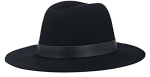 Hat Attack Hat Attack black wool felt fedora styled around brim with a tonal leather