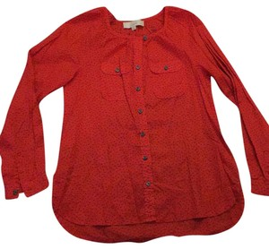 Ann Taylor LOFT Button Down Shirt Red and gray