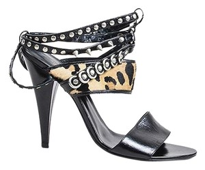 Saint Laurent Studded Leopard Black Sandals